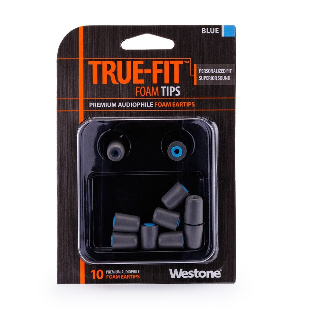 10-Pack of True-Fit Foam Earbud Tips with Blue Attachment Ring