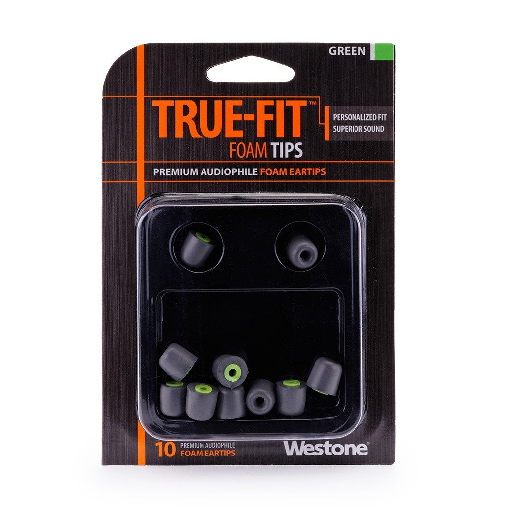 10-Pack of True-Fit Foam Earbud Tips with Green Attachment Ring