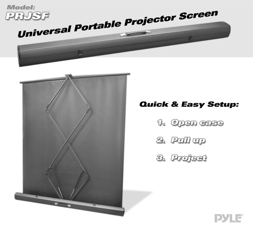 "100"" Floor Standing Portable Easy Roll-Up Pull-Out Projection Screen in Matte White"
