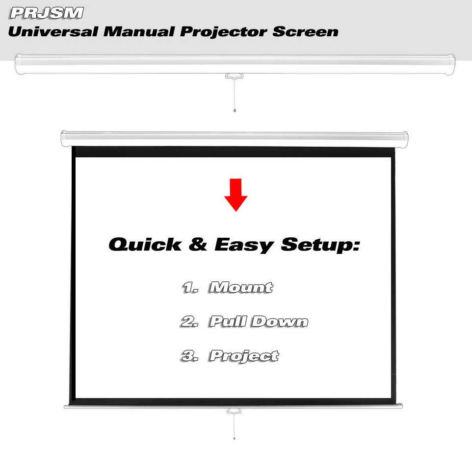 """Universal 100"""" Roll-Down Pull-Down Manual Projection Screen (59.8'' x 79.9'') in Matte White"""