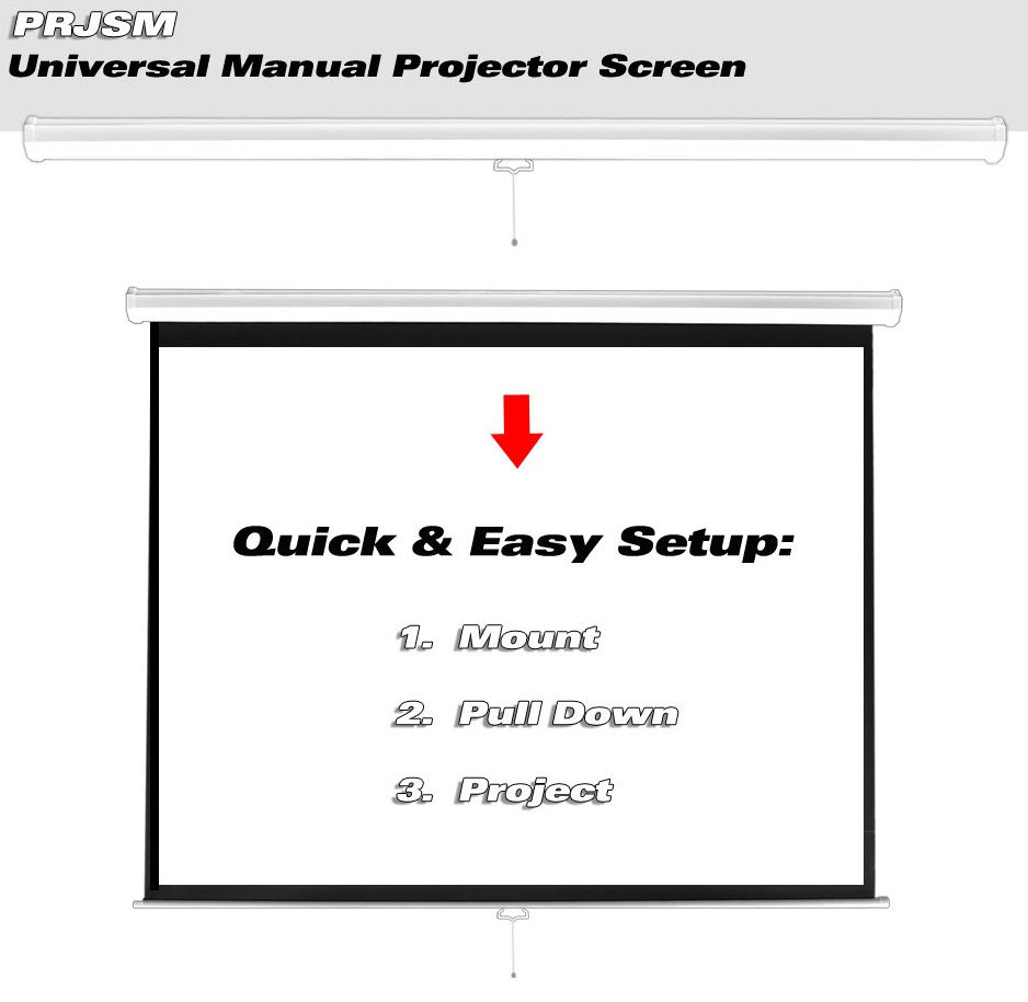 "Universal 72"" Roll-Down Pull-Down Manual Projection Screen (42.5'' x 56.6''), in Matte White"