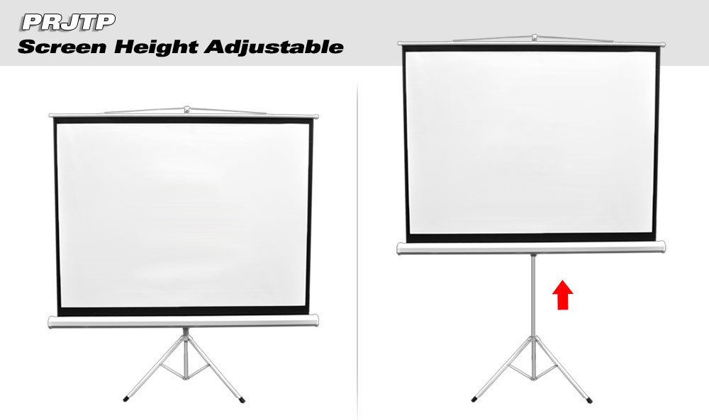 "Universal 100"" Floor Standing Portable Fold-Out Roll-Up Tripod Manual Projector Screen (59.8'' x 79.9''), with Matte White Surface"