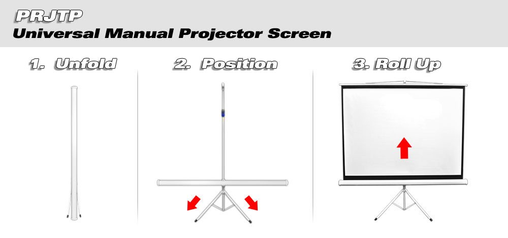 "72"" Floor Standing Portable Easy Fold-Out Roll-Up Tripod Projector Screen with Matte White Surface"