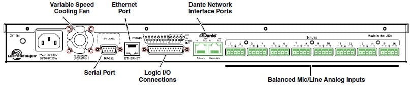 DNT Series 16 Input 32 Output Dante Network Processor