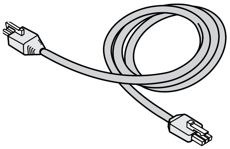"""12"""" 120 VAC Jumper Cable in White for eW Profile Powercore"""