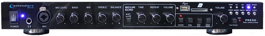 """2 Channel Preamp with RCA, 1/8"""", USB, and SD Card Inputs"""