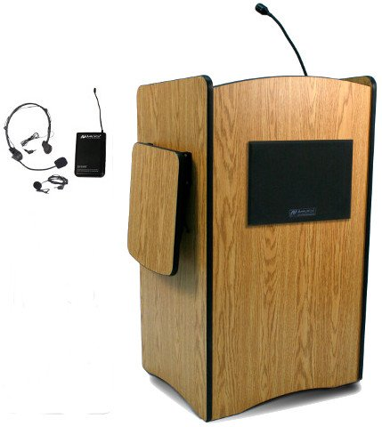 Multimedia Computer Lectern with Wireless Sound System and Lapel & Headset Microphones
