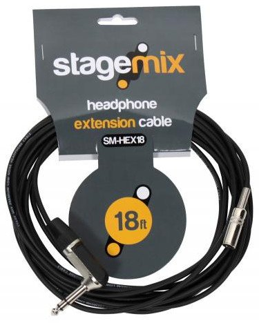 "18 foot Headphone Extension Cable, Female 1/8"" to Male 1/4"""