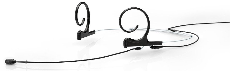 d:fine Dual Ear Cardioid Headset Microphone with Screw-On 3.5mm Locking Connector and 120mm Long Boom Arm, Black