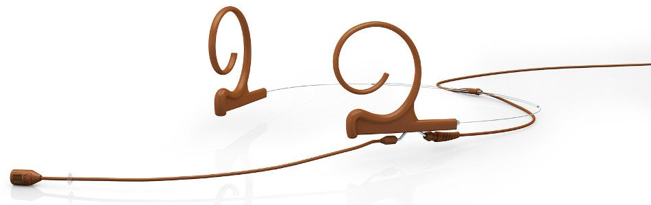 d:fine Dual Ear Cardioid Headset Microphone with Screw-On TA4F Connector and 120mm Long Boom Arm, Brown