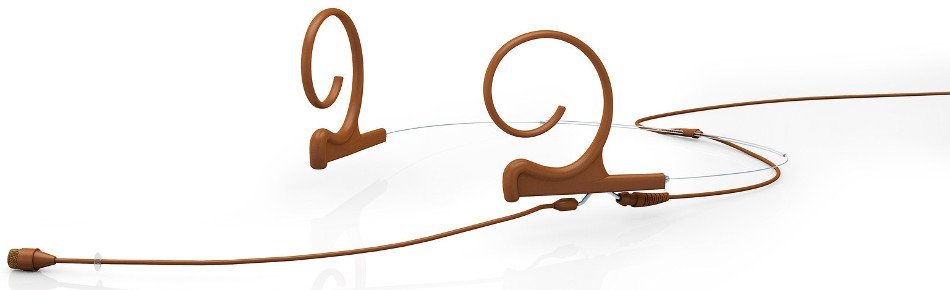 d:fine Dual Ear Omnidirectional Headset Microphone with MicroDot Termination and 110mm Long Boom Arm, Brown