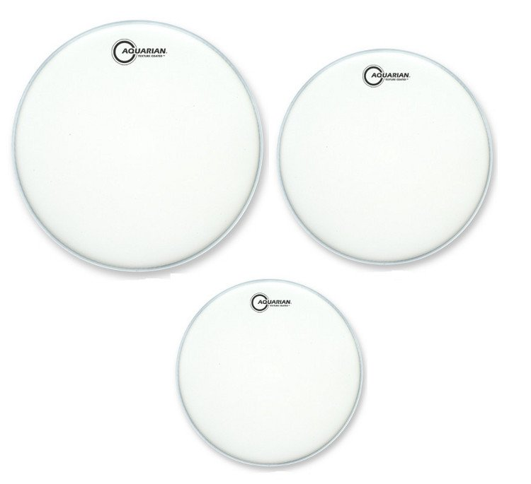 "3-Pack of Texture Coated Tom-Tom Drumheads in White: 10"",12"",14"""