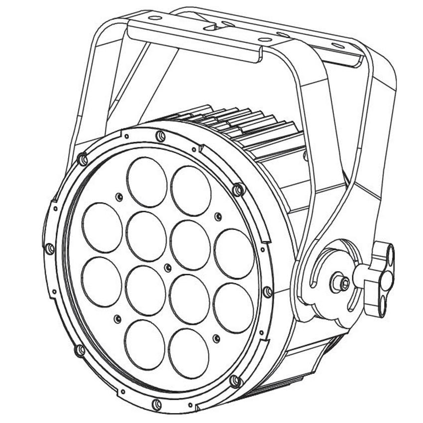 LED Par Fixture with 12x12W RGBAW+UV LEDs