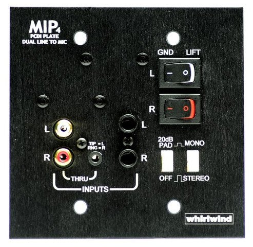 """Whirlwind MIP4B Media Input Wallplate with 1/4"""" TS, 1/8"""" mini, and RCA Inputs with Black Finish MIP4B"""