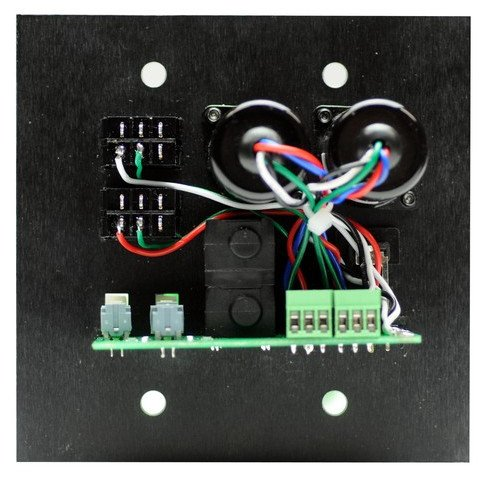 "Media Input Wallplate with 1/4"" TS, 1/8"" mini, and RCA Inputs with Black Finish"
