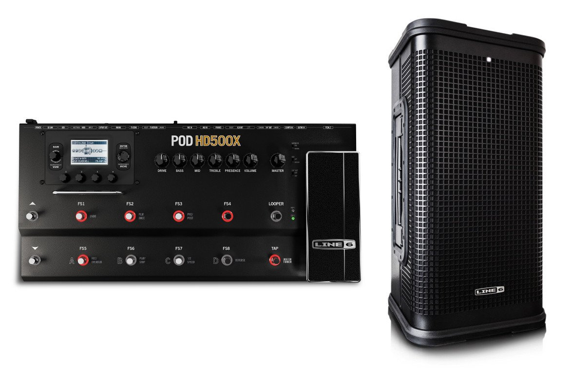 Full-Range Flat-Response Guitar Rig Bundle with POD HD500X Modeling Processor and StageSource L2t Loudspeaker with Onboard Mixer and Effects