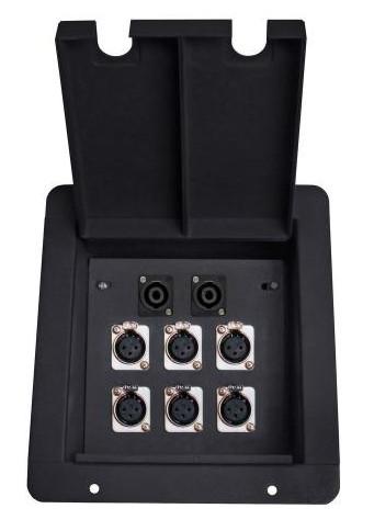 Elite Core Audio FB6-SP Recessed Floor Box with 6 XLR Female and 2 Speakon Connectors, Black FB6-SP