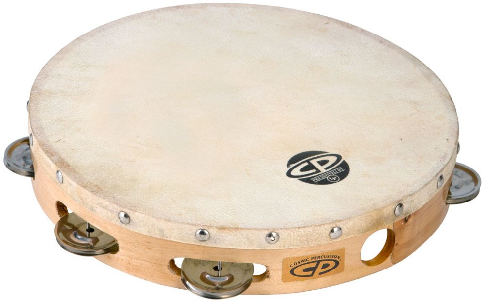 "Latin Percussion CP379 10"" CP Wood Tambourine with Single Row of Jingles and Calfskin Head CP379"
