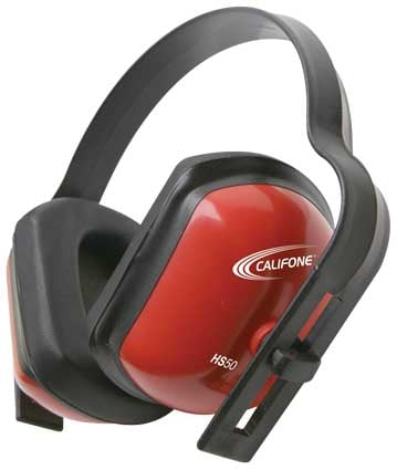 Hearing Protection Earmuffs in Bright Red