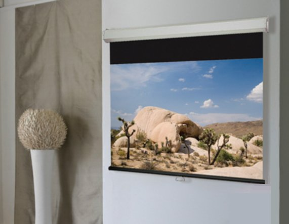 "79"" x 140"" HDTV Luma 2 Manual Projection Screen with Matt White Surface"