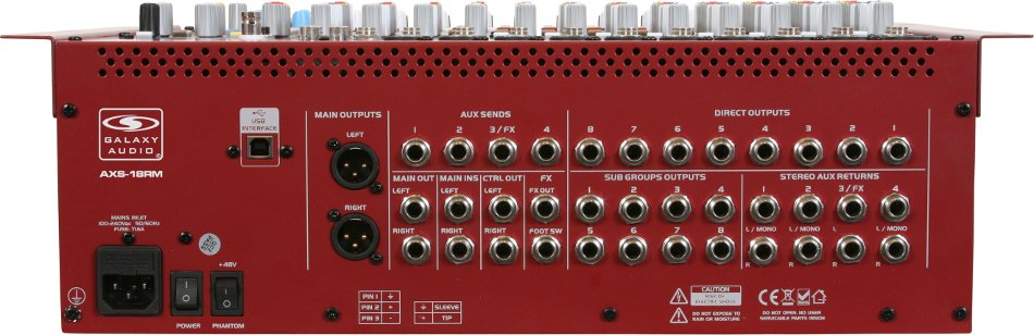 Galaxy Audio AXS-18RM 18-Channel Rackmount Mixer with USB Interface and Built-In DSP Effects AXS-18RM
