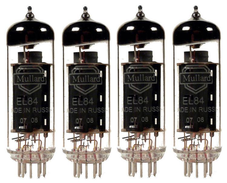 Quartet of EL84 Power Vacuum Tubes