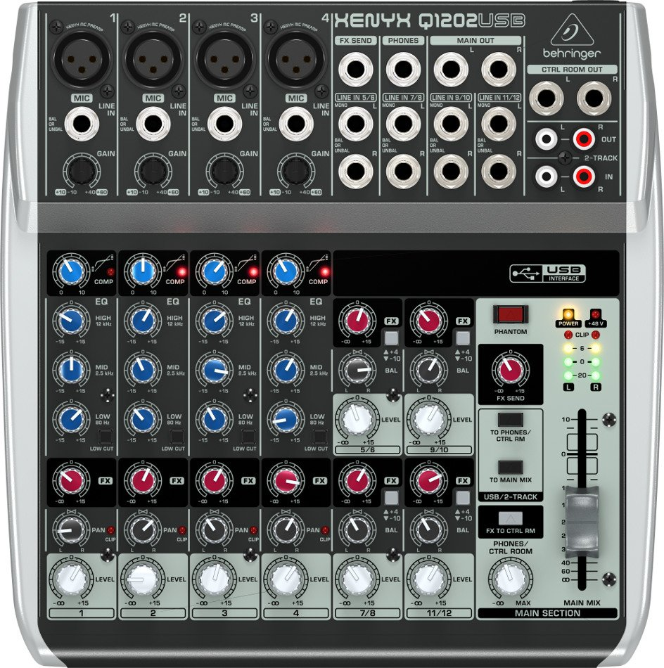 Behringer XENYX Q1202USB 12-Channel 2-Bus USB Mixer with Built-In Compressors Q1202USB