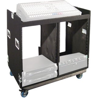 Grundorf Corp COMBO-D12CB Carpet Series Double 12-Space Combo Rack/Mixer Case with Casters in Black COMBO-D12CB
