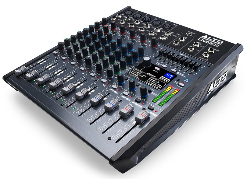 8-Channel 2-Bus Compact Mixer with USB Interface and Built-In DSP Effects