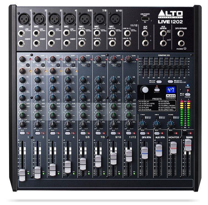 12-Channel 2-Bus Mixer with USB Interface and Built-In DSP Effects