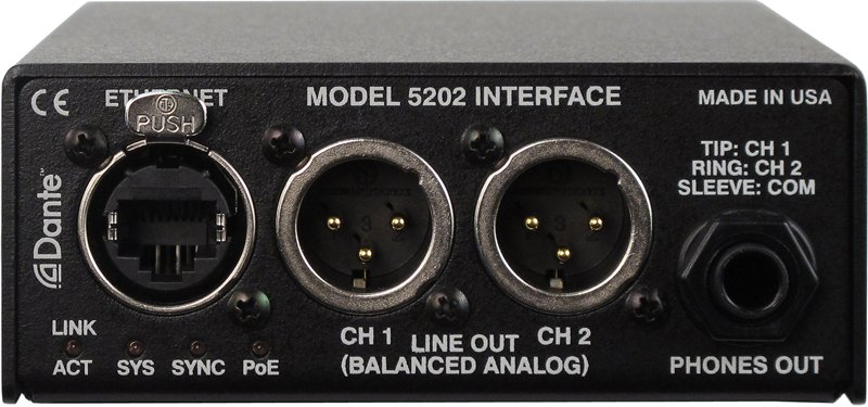 Studio Technologies Model 5202 Dante to Phones and Line Output Interface MODEL-5202