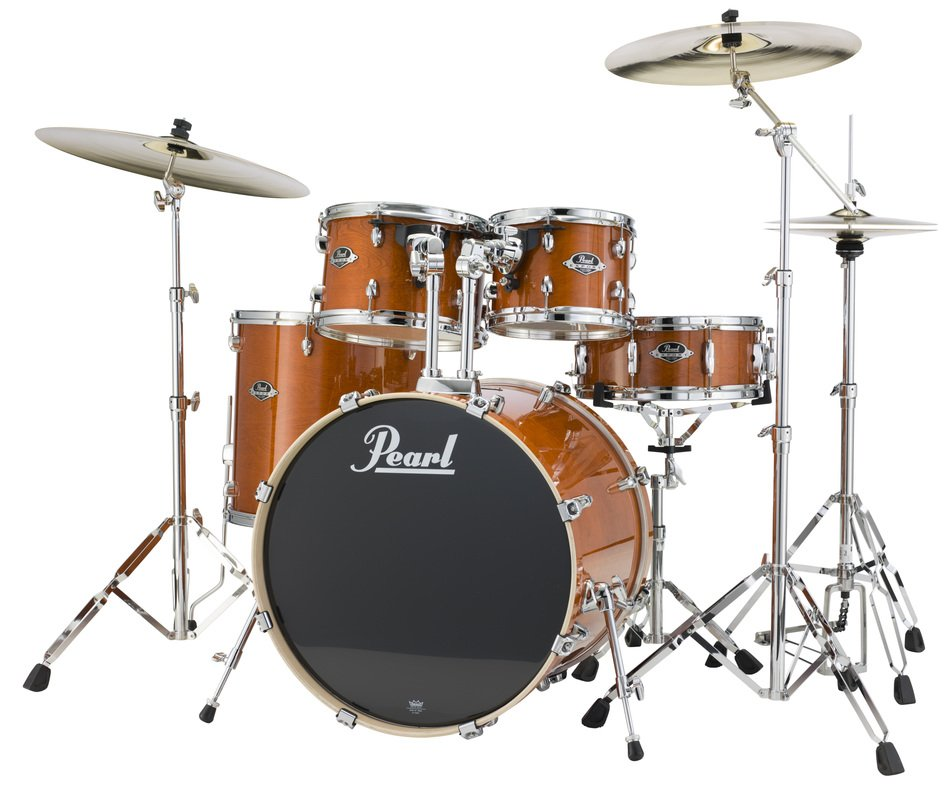 pearl drums exl725 249 5 piece drum kit in honey amber lacquer finish with 830 series hardware. Black Bedroom Furniture Sets. Home Design Ideas