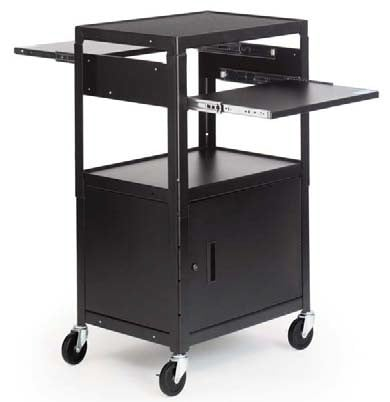 "Adjustable Multimedia Cab Cart with 5"" Caster"