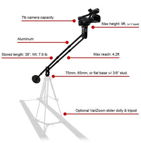 Aluminum Jib Holds Cams up to 7 Pounds
