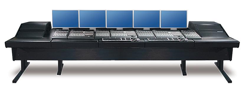 "90V Series Universal Workstation with (2) 10 Space Racks & Black Trim Panels, 148.5"" Length"