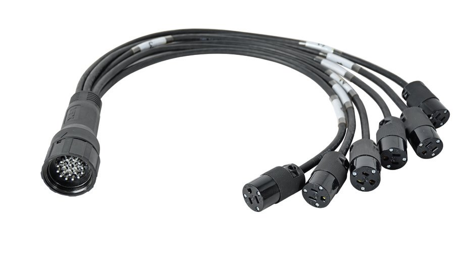 6 ft 15 Amp Evergrip Breakout Cable with Male LSC19 Multi-Pin Connector to 6 Female NEMA 5-15 Connectors