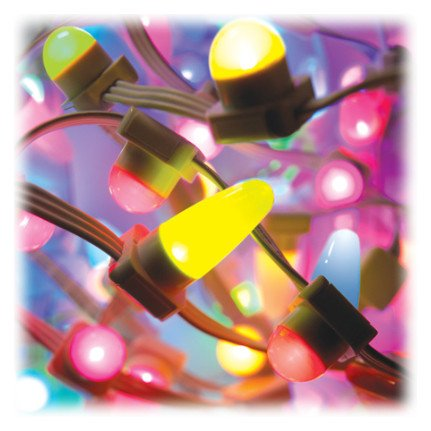 """iColorFlex MX gen2 50 Light Strand with 4"""" On-Center Translucent Dome Nodes in Black"""