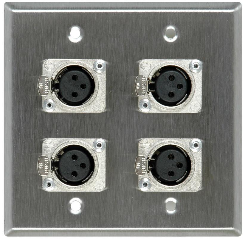 2-Gang Wall Plate with 4x NC3FD-L-1 3-Pin XLR-F Jacks