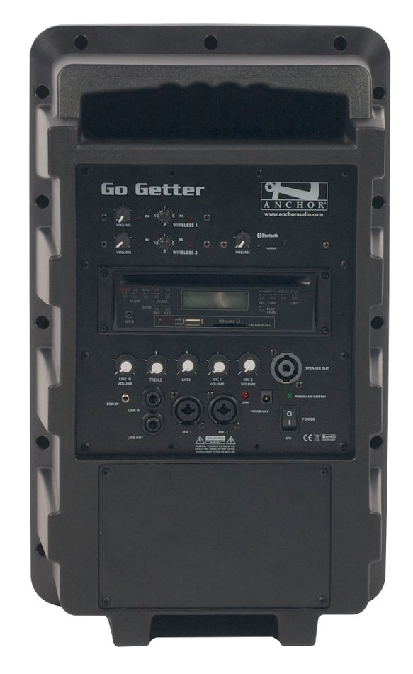 Go Getter Portable PA System with (2) UHF Wireless Receivers, CD/MP3 Player and Bluetooth Connectivity
