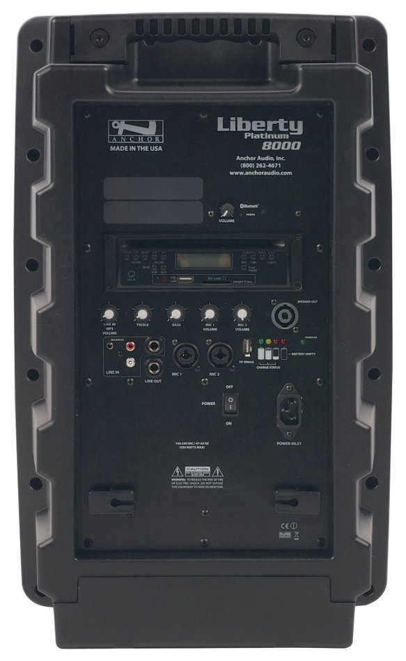 Anchor LIB-8000C Liberty Platinum Portable PA System with Onboard Bluetooth, CD/MP3 Combo Player and Rechargable Battery LIB8000C