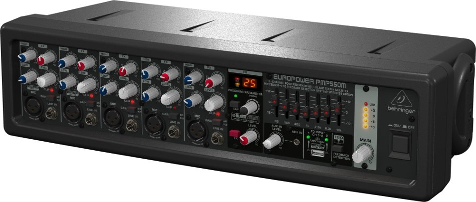 Behringer EUROPOWER PMP550M 500W 5-Channel Ultra-Compact Powered Mixer/Amplifier with Klark Teknik Effects and FBQ Feedback Detection PMP550M