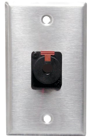 """Black Anodized Single-Gang Wall Plate with Neutrik 1/4"""" Female Connector"""