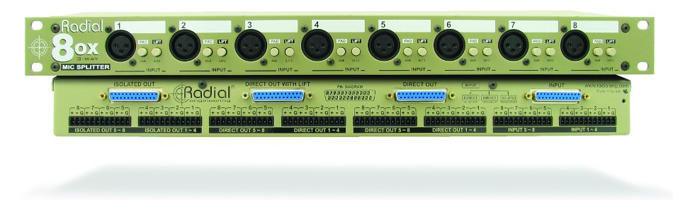 Transformer Based 8-Channel Microphone Splitter with Radial Transformers