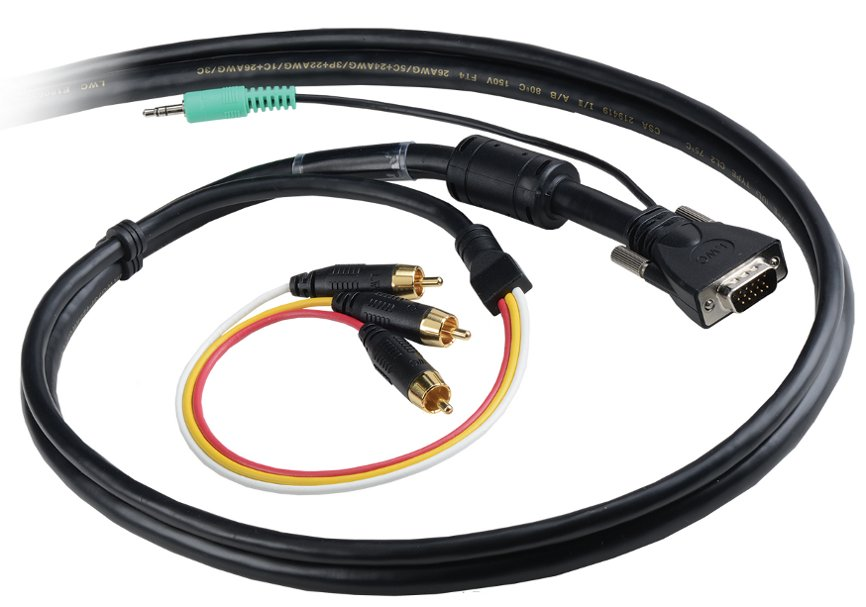 Liberty VGA and PC Audio with Triplex Audio/Video RCA combination cable