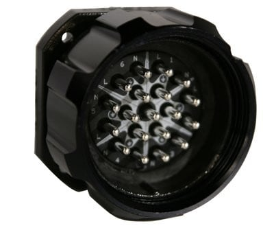 19-Pin 6-Circuit Male Panel Mount Connector with Crimp Termination