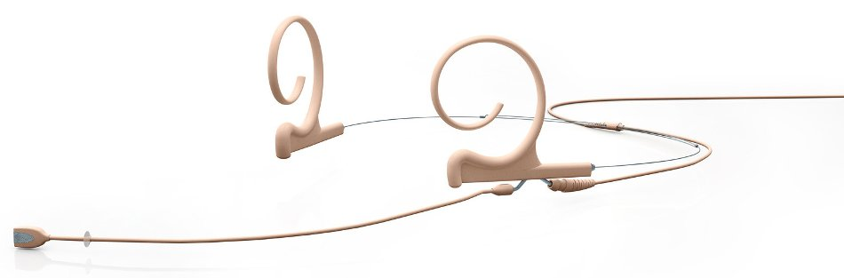 Dual-Ear Directional Headset Microphone with 3.5mm Locking Connector in Beige