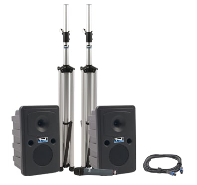 Go Getter Deluxe Portable PA Package with Unpowered Companion Speaker, Speaker Stands and Choice of Wireless Transmitter