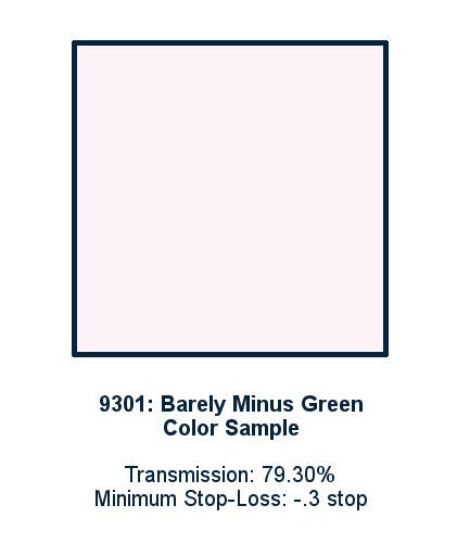 Barely Minus Green 60cm x 60cm LED Light Filter