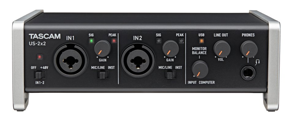Tascam US-2x2 2 In/2  Out USB 2.0 Audio/MIDI Interface with HDDA Microphone Preamplifiers and iOS Compatibility US2X2