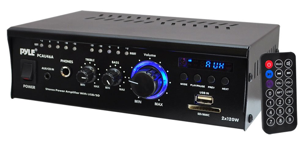 2x 120W Stereo Power Amplifier with USB & SD Card Readers